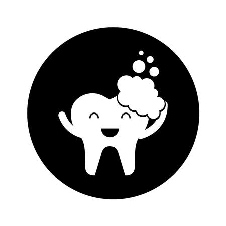 Zahn mit Zahnpasta Zeichen Symbol Vektor-Illustration Design Standard-Bild - 74909256
