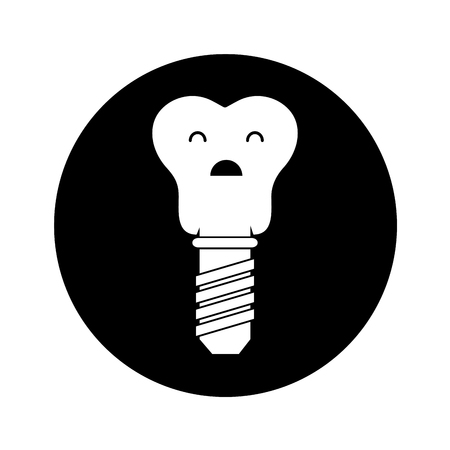 tooth implant character icon vector illustration design Illustration