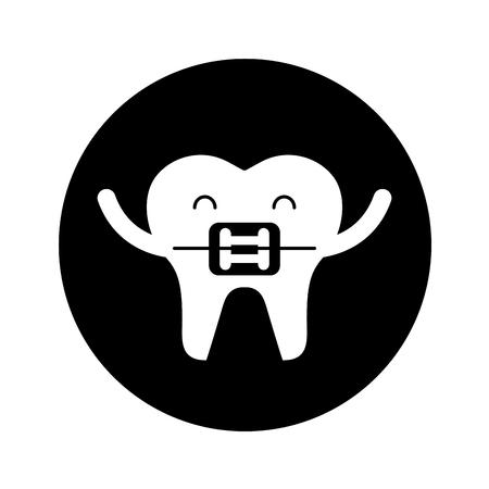 Zahn mit kieferorthopädischen Klammer Zeichen Symbol Vektor-Illustration Design Standard-Bild - 74909259