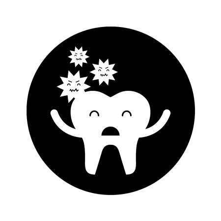 Zahn mit Karies Zeichen Symbol Vektor-Illustration Design Standard-Bild - 74909261