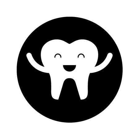 Glücklich gesunde Zahn Zeichen Symbol Vektor-Illustration Design Standard-Bild - 74909263