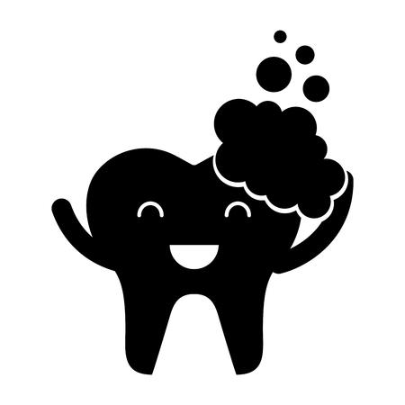 Zahn mit Zahnpasta Zeichen Symbol Vektor-Illustration Design Standard-Bild - 74909282