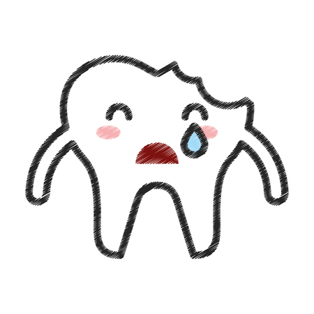 Broken tooth crying character icon vector illustration design