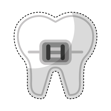tooth with Orthodontic bracket isolated icon vector illustration design
