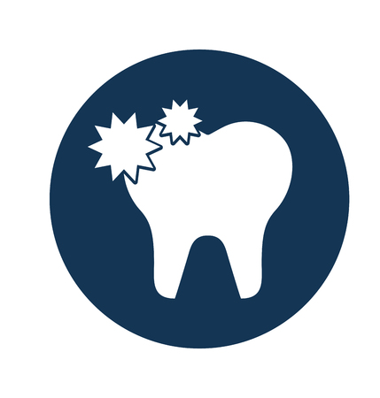 Zahn mit Karies lokalisiertes Ikonenvektor-Illustrationsdesign Standard-Bild - 74909367