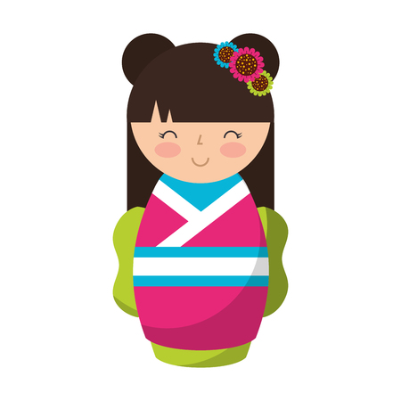 matryoshka: cute japanese doll icon vector illustration design