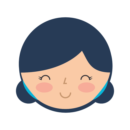 cute japanese doll head vector illustration design