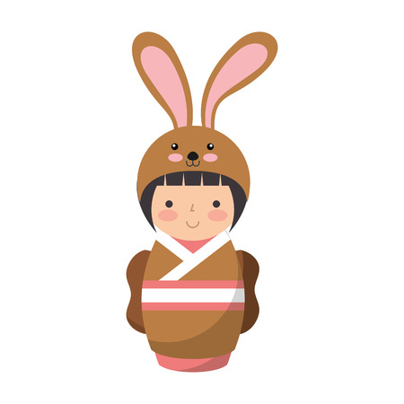 matryoshka: cute japanese doll with a disguise of a rabbit vector illustration design Illustration