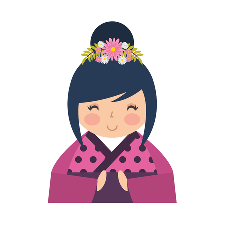 cute japanese doll icon vector illustration design