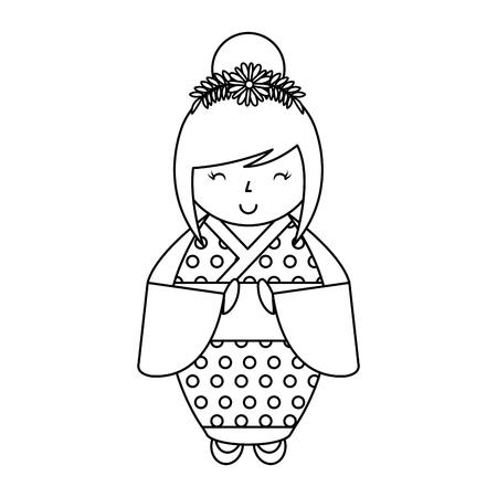 cute japanese doll icon vector illustration design