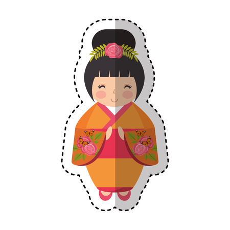 kokeshi: cute japanese doll icon vector illustration design