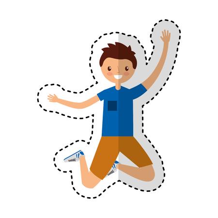 young man jumping character vector illustration design