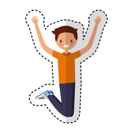 Jonge man springen karakter vector illustratie ontwerp