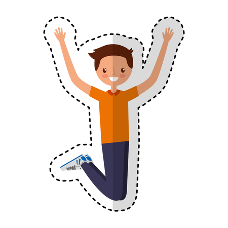 young man jumping character vector illustration design