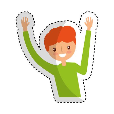 exaltation: young man celebrating character vector illustration design