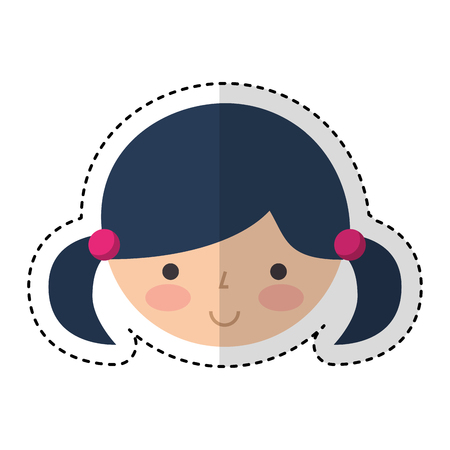 kokeshi: cute japanese doll head vector illustration design