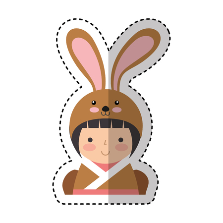 cute japanese doll with a disguise of a rabbit vector illustration design Illustration