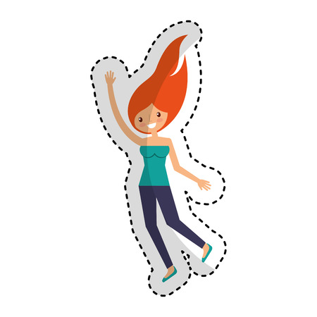 young woman celebrating character vector illustration design