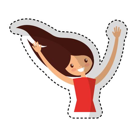 exaltation: young woman celebrating character vector illustration design