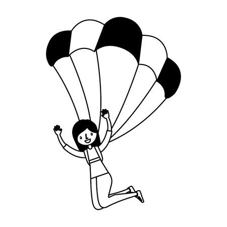 Junge Frau mit Fallschirm Vektor-Illustration Design Standard-Bild - 74945545