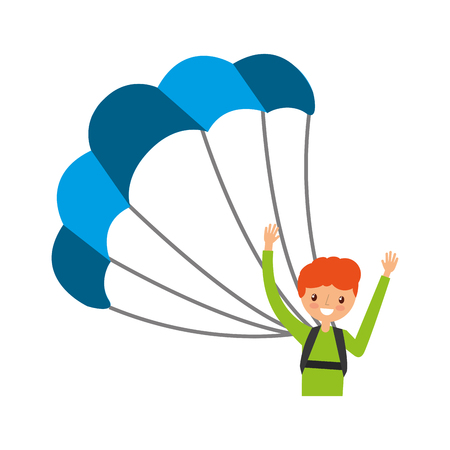 parachute jump: young man with parachute vector illustration design