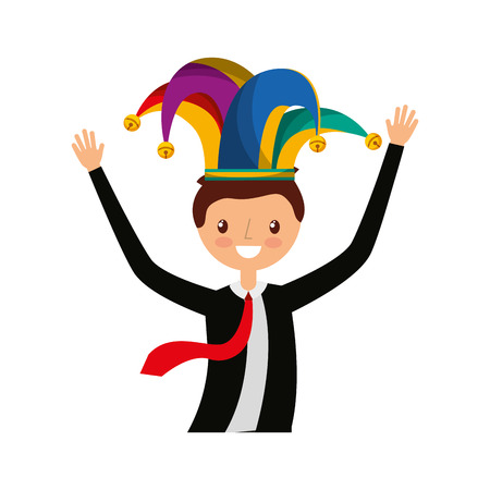 exaltation: businessman celebrating avatar character vector illustration design