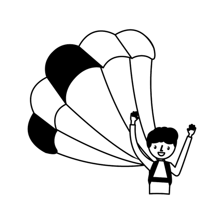 young man with parachute vector illustration design