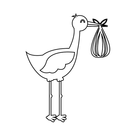 stork with baby bag icon vector illustration design