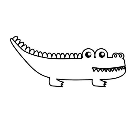 Diseño lindo del ejemplo del vector del icono aislado cocodrilo Foto de archivo - 74963454