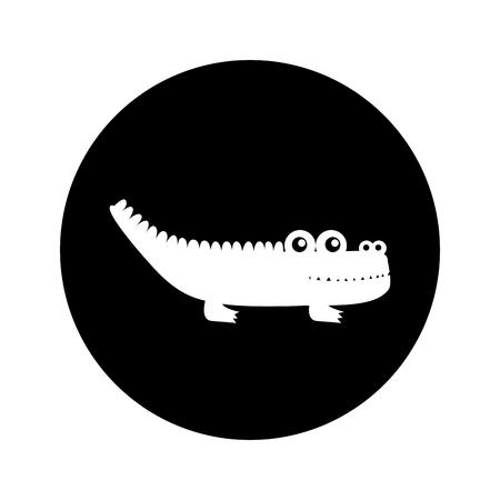 Diseño lindo del ejemplo del vector del icono aislado cocodrilo Foto de archivo - 74963464