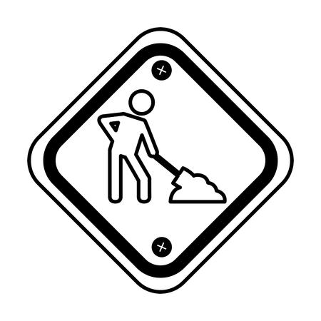 diamond caution sign icon vector illustration design Illustration