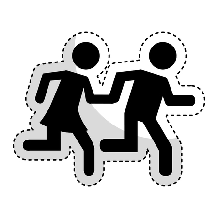 relay: couple running silhouette icon vector illustration design