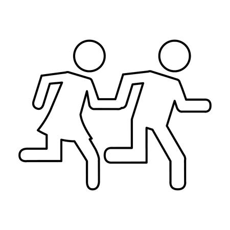 Paar rennen silhouet icoon vector illustratie ontwerp