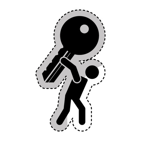 person lifting key door isolated icon vector illustration design