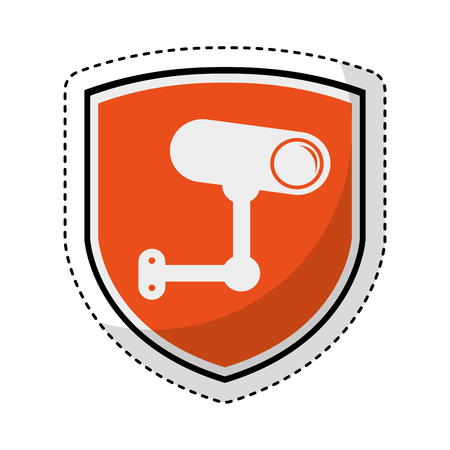 shield insurance with cctv camera isolated icon vector illustration design Illustration