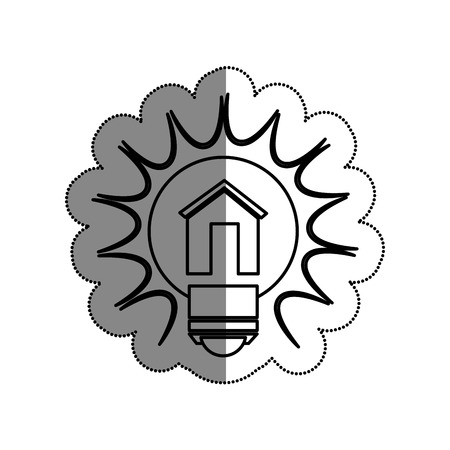 bulb light with house drawing icon vector illustration design