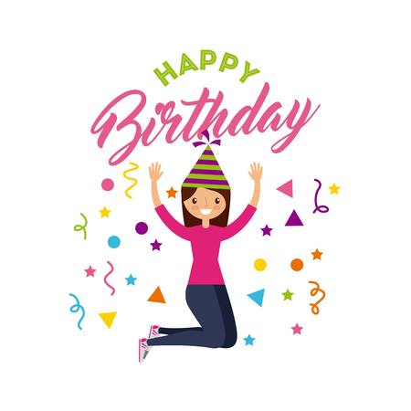Happy Birthday Card With Girl Wearing A Party Hat Over White