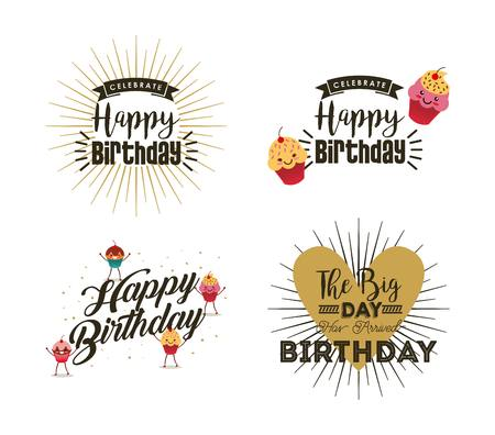 happy birthday emblems over white background. colorful design. vector illustration