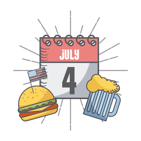calendar with usa independence day date and hamburger and beer jar icon over white background. colorful design. vector illustration