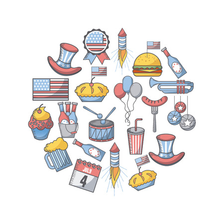 usa independence day related icons in circle shape over white background. colorful design. vector illustration Illustration