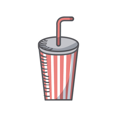 soft drink cup with straw icon over white background. colorful design. vector illustration Illustration