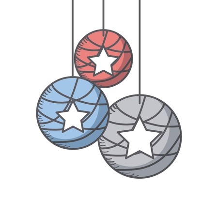 decorative balls with stars icon over white background. usa independence day cocnept.  colorful design. vector illustration Illustration