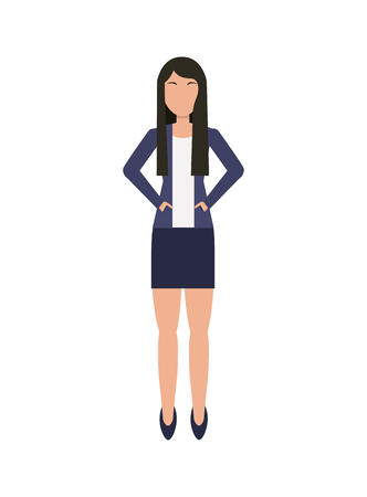 financial item: business woman cartoon icon over white background. colorful design. vector illustration