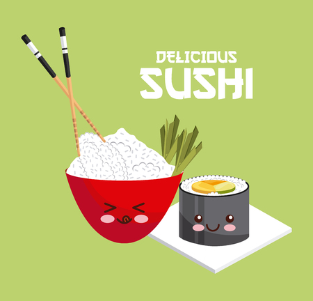 sushi and rice bowl with chopsticks over green background. colorful design. vector illustration