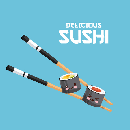 kawaii sushi and chopsticks over blue background. colorful design. vector illustration Ilustração