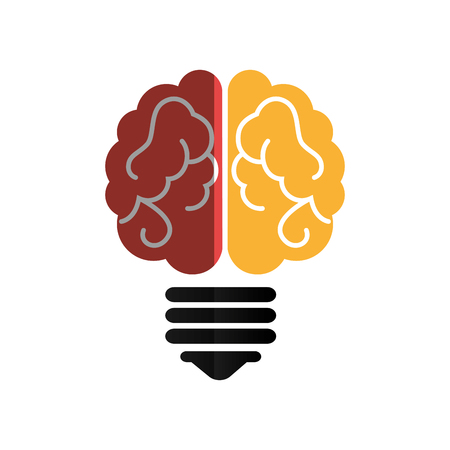 bulb light with brain vector illustration design Illustration