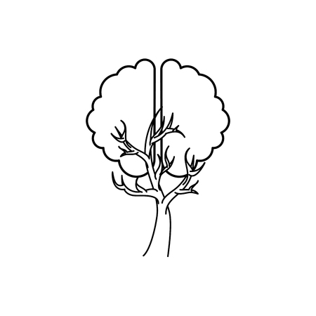 brain human with tree creative icon vector illustration design