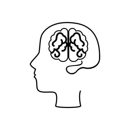 brain human with profile creative icon vector illustration design