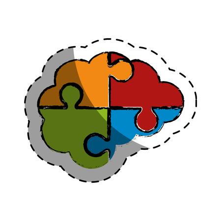 brain human with puzzle pieces creative icon vector illustration design