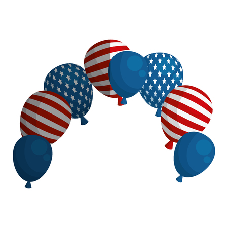 federal election: united states of america balloons air party vector illustration design